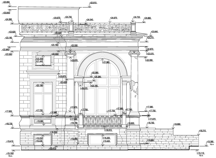 The drawing of the facade