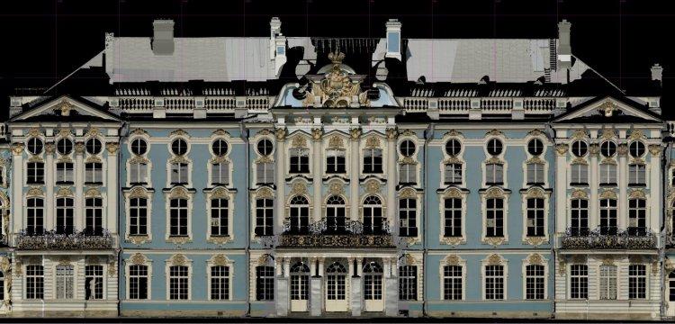 Ортофотоплан фрагмента фасада Екатерининского дворца