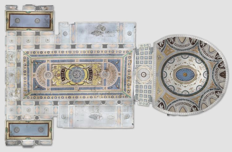 Цветной ортофотоплан плафона части залов дворца, разрешение оригинала 0,5 мм/пиксель.