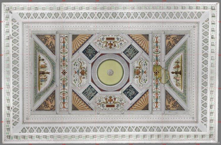 Голубой зал. Цветной ортофотоплан потолка зала, разрешение оригинала 0,5 мм/пиксель.