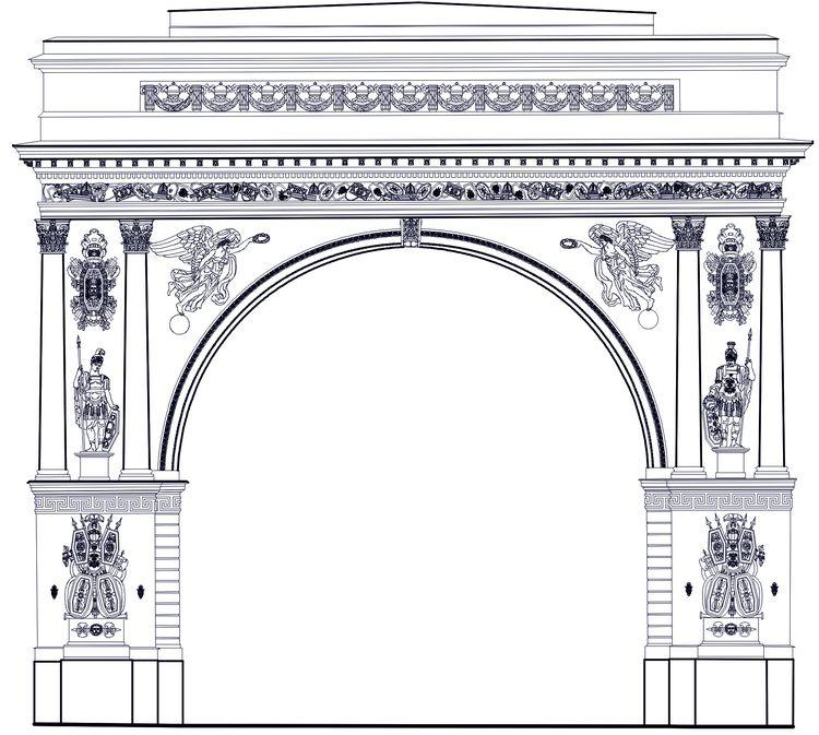 Архитектурные обмеры: Арка Главного штаба
