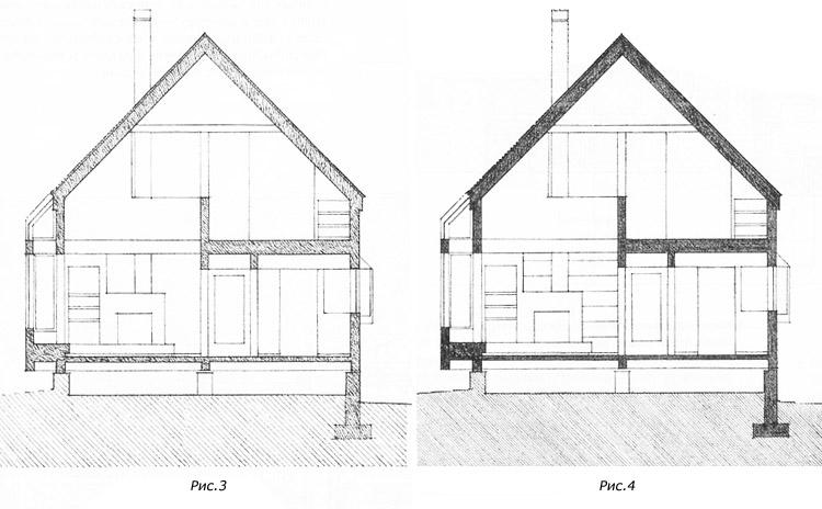 Выделение разрезных линий на чертеже здания